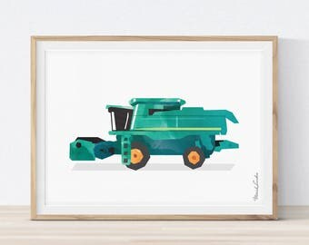Combine Harvester Print, Transportation Wall Art, Boys Room Art, Agriculture Prints, Tractor Farm Combine, Printable, Instant download