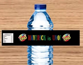 UNO theme birthday party water bottle labels
