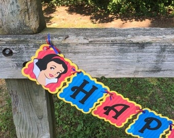 Snow White Princess Happy Birthday Banner Customizable