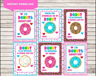 Donut Valentines Day Cards, INSTANT DOWNLOAD Sweet Valentine Cards,  Printable Donuts Valentines, Kids