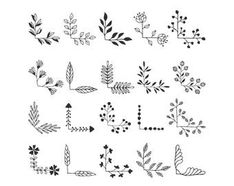 20 floral corners svg. Ornate clip art. Vector, Eps, Png, Dxf, Svg. Cut files.