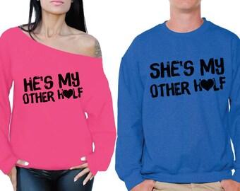 Matching He's She's My Other Half Couple Sweatshirts Boyfriend Girlfriend Couple Sweaters Husband Wife Matching Sweatshirts Valentine's Gift