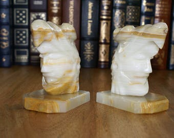Onyx Bookends | Aztec Eagle Worrier | American Indian Bookends | Native American Decor