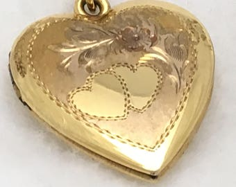Heart Locket Necklace – Floral and Heart Etched Design.  Vintage Gold over Sterling Silver, 1 inch.