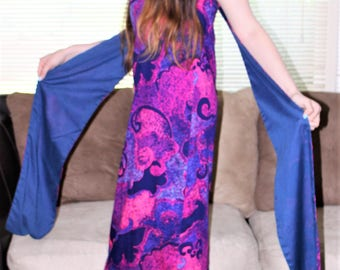 Vintage 60's ALFRED SHAHEEN Hawaiian Resort Dress - Hawaii Print Purple,Pink,Blue Amazing Maxi Dress 6/8