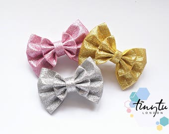 Glitter Bows, Double Bows, Hair Clips, Baby Headbands