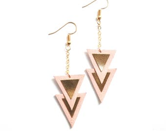 "Earrings ""Nakam"" leather pink and gold"