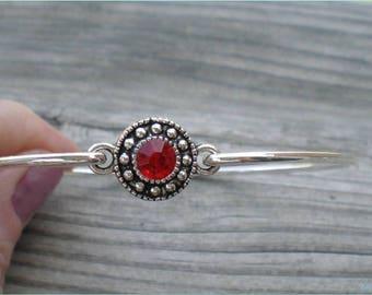 Red Rhinestone Bangle, Jewelry By BajaCharms, Retro Theme