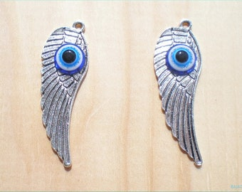 Evil Eye Wing Charms, Set of 2 Large Wing Charms, Jewelry Making, Jewelry Findings