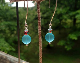 Bright Ocean Blue Button Sea Glass Earrings with Argentium Silver Ear Wires