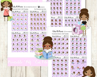 Two Dollar Tuesday Functional Girls2 Dark Printable Planner Stickers/Weekly Kit/For Use with Erin Condren/Cutfile Fall September Glam