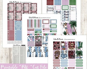 Tribal Vibes Printable Planner Stickers/Weekly Kit/For Use with Erin Condren/Cutfile Fall September  Boho Tribal Glam Fashion Palm Springs