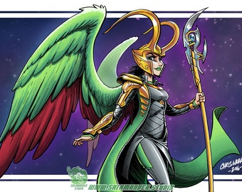 Female Loki with Wings - Color Art Print - 11 x 17 inch