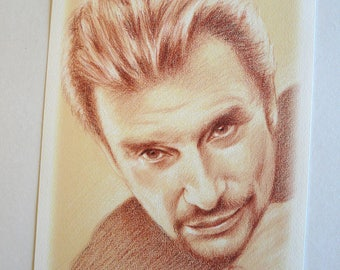 Johnny Hallyday Reproduction Portrait of Johnny blood stained A4 paper