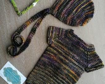Newborn Romber and Bonnet Set. Newborn Prop.  Newborn Photography Prop.  Handknitted Newborn clothes