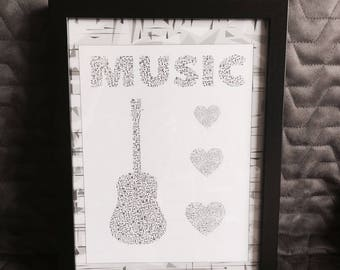 Music Print with Frame