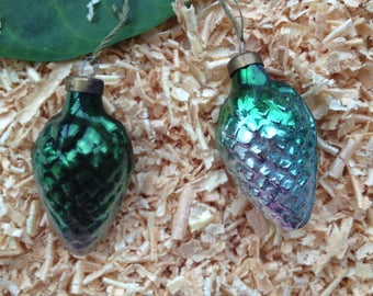 Christmas ornaments set of 2. Pine cone Christmas ornament in green and blue color. Christmas gift