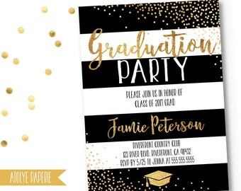 Graduation Party Invitation, Graduation Party Invite, Graduation Invite, Gold Polka Graduation, Shimmery Gold Polka,Striped Invite,Printable