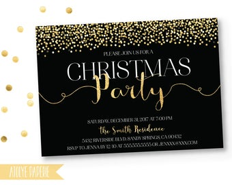 Christmas Party Invitation, Christmas Party Invites, Holiday Party Invites,Christmas Party Printable,Gold Christmas Party Invitation,Holiday