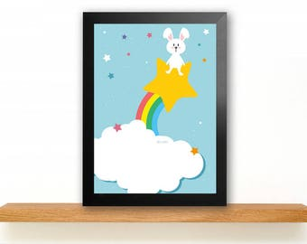A4 Small space-bunny poster children's Room picture