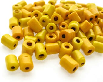 54 Vintage Lampwork Glass Tube Beads, 7 mm, Golden Yellow Beads, Yellow Glass Tube Beads, Yellow Mix Beads, Hippie Boho Beads, Bead Destash