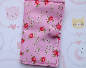 Business card holder-cotton card holder-pink floral card holder