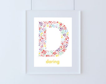 Letter D for Daring Kids Floral Art Printable