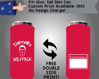 Wolf pack 16 oz Tall Slim Can Cooler Double Side Print (16TSC-Bach01)