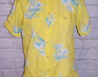 "Size XL 46"" vintage 80s hawaiian/ western s/slv shirt yellow floral print (HH83)"