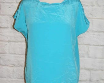 Size 14 vintage 80s scalloped blouse oversize cap sleeve silky turquoise (HD49)