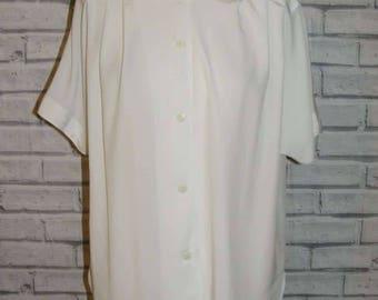 Size 12 vintage 90s short sleeve chic oversize blouse plain silky white (IC36)