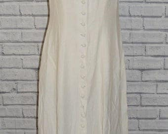 Size 12 vintage 90s sleeveless collared flared button long dress cream (ID17)