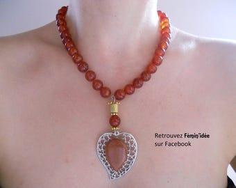 Carnelian red cabochon Sun stone necklace