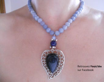 Necklace in aquamarine, Lapis Lazuli and a night stone Cabochon