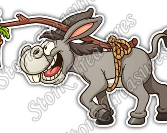 Donkey Following Carrot Funny Cartoon Gift Idea Car Bumper Vinyl Sticker Decal