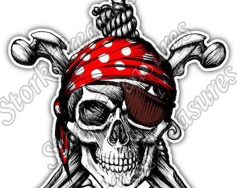 Pirate Skull Crossbones Jolly Roger Rope Car Bumper Vinyl Sticker Decal
