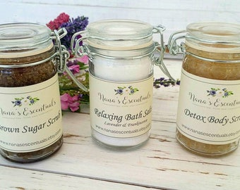 FREE SHIPPING-Gift Set Under 15 - Pick THREE 2-3 oz Sampler Bath Salts & Scrubs - Gift Wrapped- All Natural - Gift for Friend/Co Worker