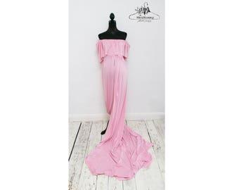 Light pink maternity dress, off the shoulder, size M - L (UK 10 - 12)