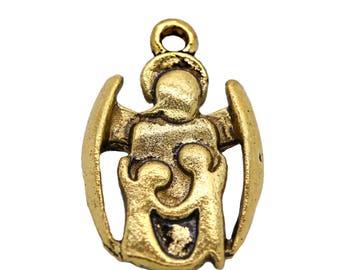 100 followers guardian angel, 14.5 x 23 x 2 mm, antique gold