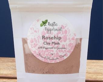Rosehip Clay Mask, facial Mask, nourishing face mask, detoxifying face mask, Natural Face Mask, Vegan Face Mask