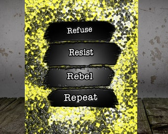 Refuse Resist - Follow the Gleam birthday  - greetings cards blank