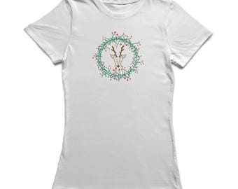 Christmas Wreath Reindeer Inside Graphic  Women's White T-shirt