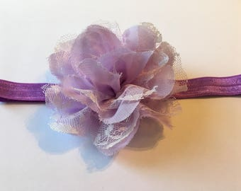 Lavender Large Chiffon And Lace Flower Headband, Chiffon, Lace, Flower, Headband, Lavender, Floral Headband