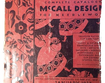 """Vintage Pattern Catalog: """"McCall Design for Needlework""""  January 1937, McCall Corporation."""