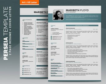 Professional Resume Template / Creative CV Template, 2 Pages Word Resume Design + 1 Pages Cover Letter, Creative Design, Instant Download