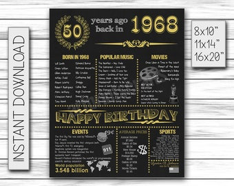 50th Birthday Sign, 50 Years Ago, 1968 Birthday Sign, Gold 50th Birthday Sign for Women, Chalkboard Poster, Printable DIGITAL FILE Only, JPG