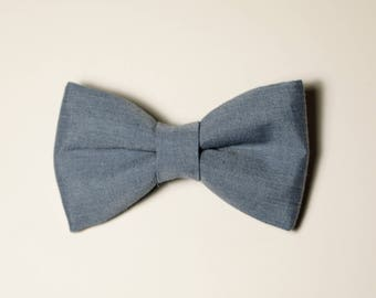 Chambray Blue Bow Tie