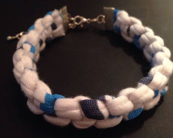 Blue and white macrame bracelet