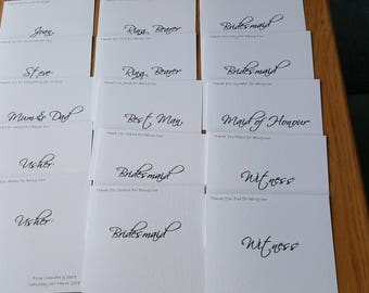 Set of 10 personalised Thank you Wedding Attendance/Participation Cards with inserts.