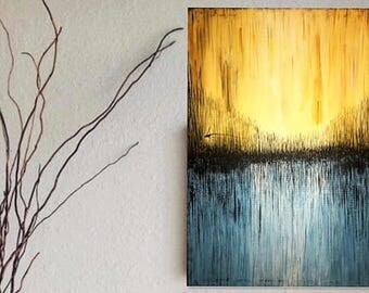 Abstract Art Modern Wall Painting, Yellow Blue Black White Original Abstract Painting On Canvas.